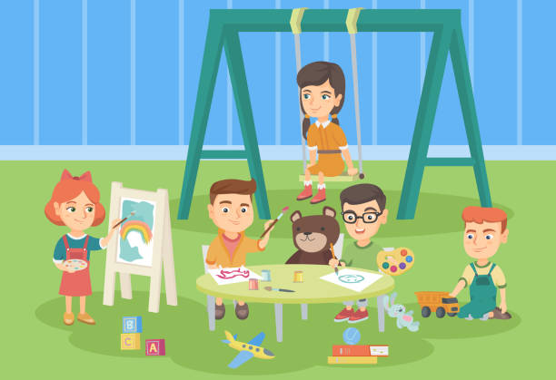 Caucasian children playing in the playground vector art illustration