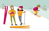 Caucasian white couple of skiers drinking hot coffee from thermos at ski resort. Young woman and man having break after skiing in the mountains. Family vacation concept. Vector cartoon illustration.