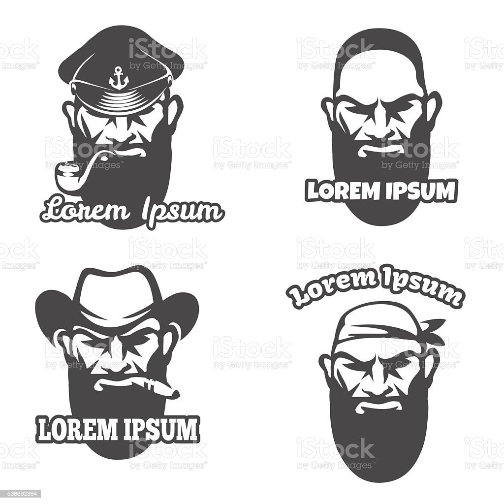 Caucasian face logo vector art illustration