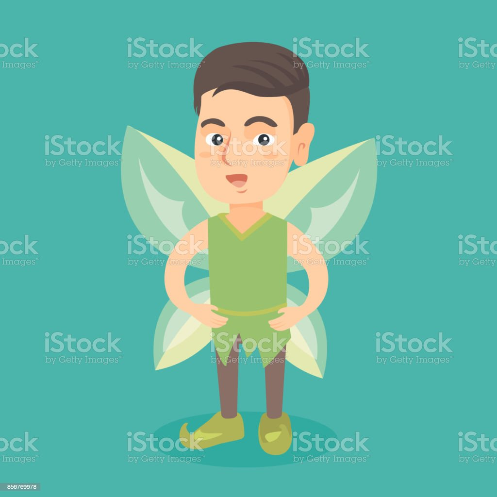 Caucasian fairy boy with green butterfly wings vector art illustration