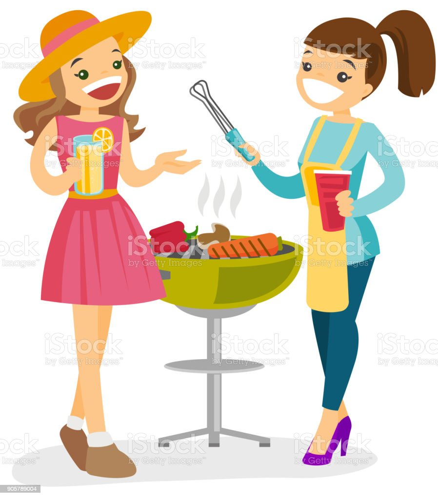 Caucasian friends having fun at barbecue party vector art illustration