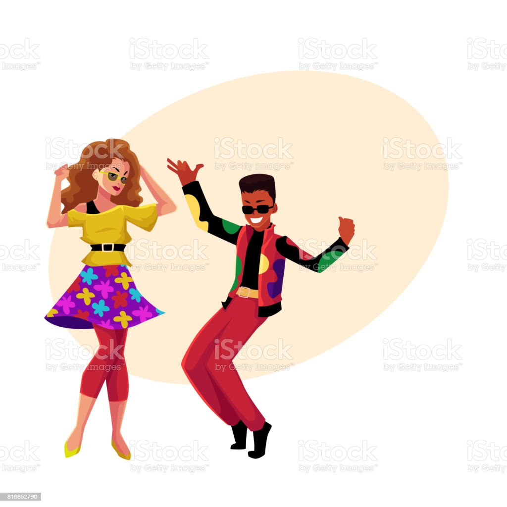 Caucasian girl and black man at eighties retro disco party vector art illustration