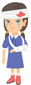 Caucasian girl with broken arm and bandaged head