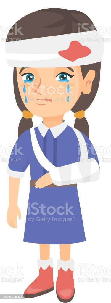 Caucasian girl with broken arm and bandaged head vector art illustration