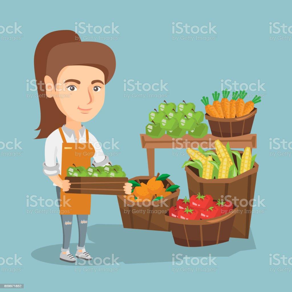 Kaukasische Gemüsehändler holding Box mit Äpfeln – Vektorgrafik