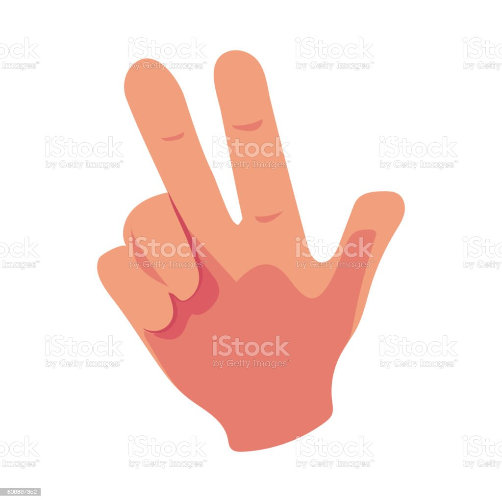 Caucasian Human Hand Showing V For Victory Sign Triumph Symbol Stock