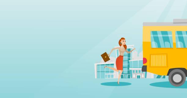 ilustrações de stock, clip art, desenhos animados e ícones de caucasian latecomer woman running for the bus - young woman running city