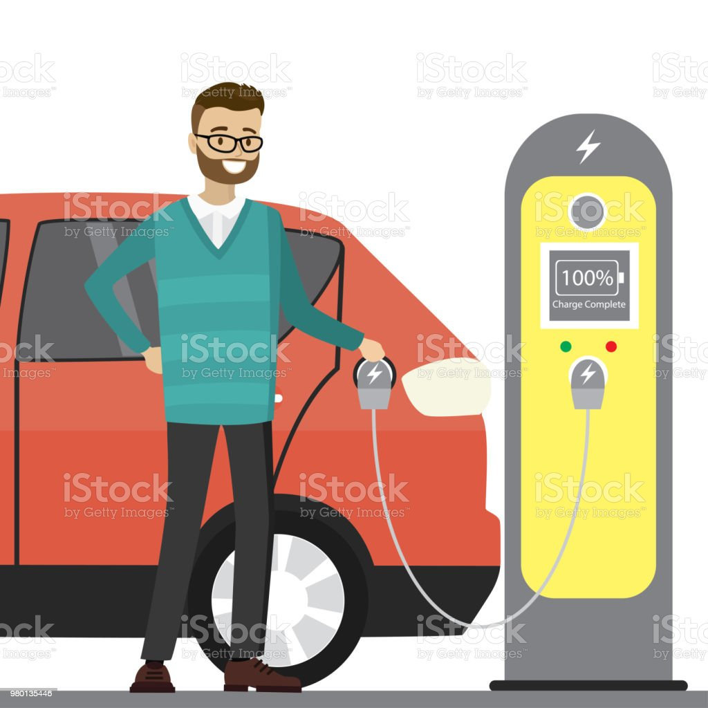 Caucasian male charging an electric vehicle from a charging stat vector art illustration