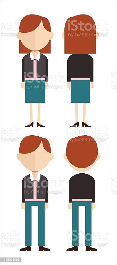 Caucasian man and woman in front and back view vector art illustration