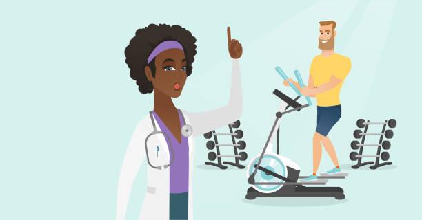 ilustraciones, imágenes clip art, dibujos animados e iconos de stock de hombre caucásico ejercicio en elíptica trainer - medicina del deporte