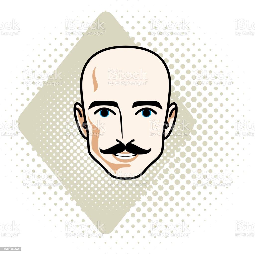 6061345554d Caucasian Man Face Vector Human Head Illustration Attractive ...