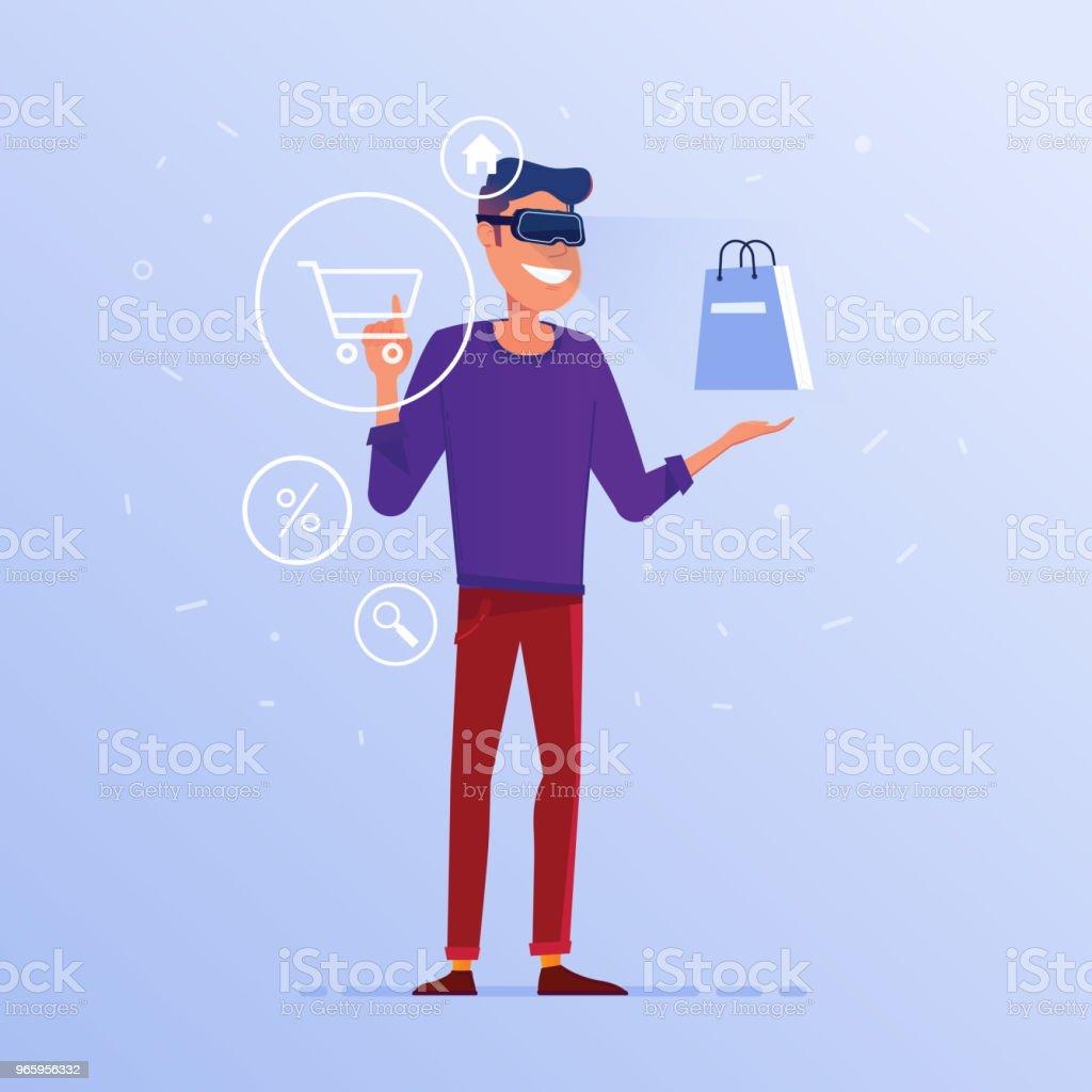 Een blanke man in VR headset doen online winkelen - Royalty-free Apparatuur vectorkunst