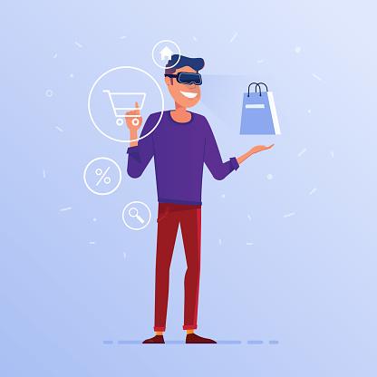 Een Blanke Man In Vr Headset Doen Online Winkelen Stockvectorkunst en meer beelden van Apparatuur