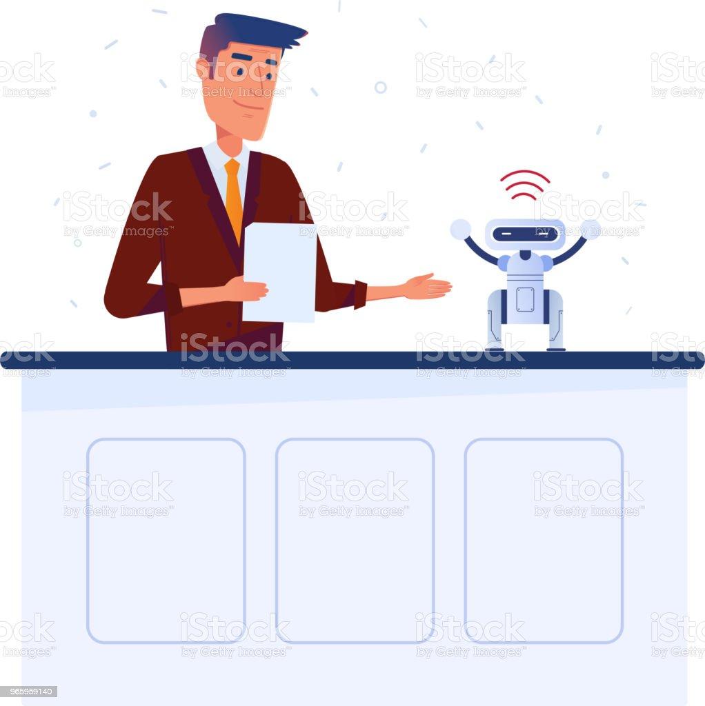 Kaukasiska man uppfinnare ställer in liten robot med surfplatta via wi-fi-anslutning - Royaltyfri Affärsman vektorgrafik
