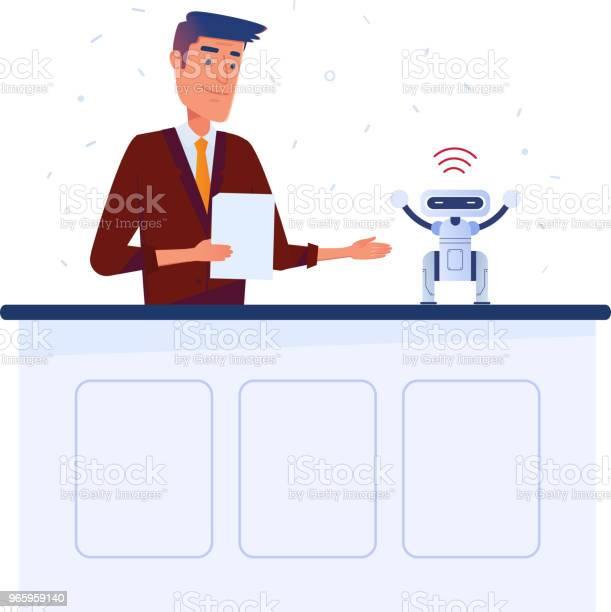 Kaukasiska Man Uppfinnare Ställer In Liten Robot Med Surfplatta Via Wifianslutning-vektorgrafik och fler bilder på Affärsman