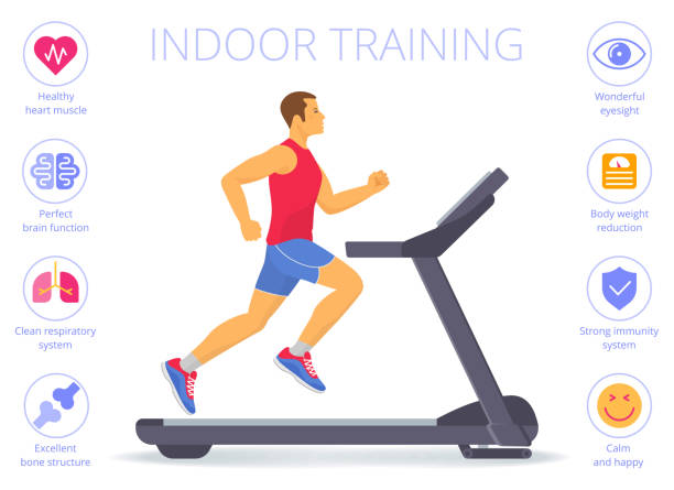Caucasian man is running on the treadmill. Flat vector illustration. Strong caucasian man is running on the treadmill. Flat vector illustration of athletic adult boy in the sportswear doing exercises on the treadmill. Indoor fitness concept isolated on white. exercise machine stock illustrations