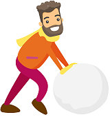 Young caucasian white man rolling giant snowball to make snowman. Concept of outdoor winter leisure activity. Vector cartoon illustration isolated on white background.