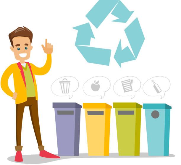ilustrações de stock, clip art, desenhos animados e ícones de caucasian man standing next to the garbage bins - box separate life