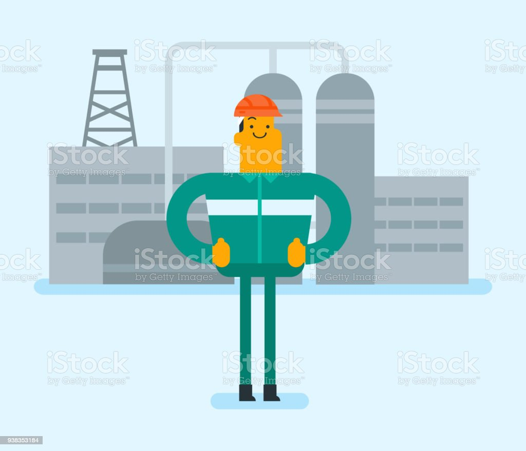 Caucasian Man Standing On The Background Of Plant Stock Vector Art Nuclear Power Diagram Animation Royalty Free