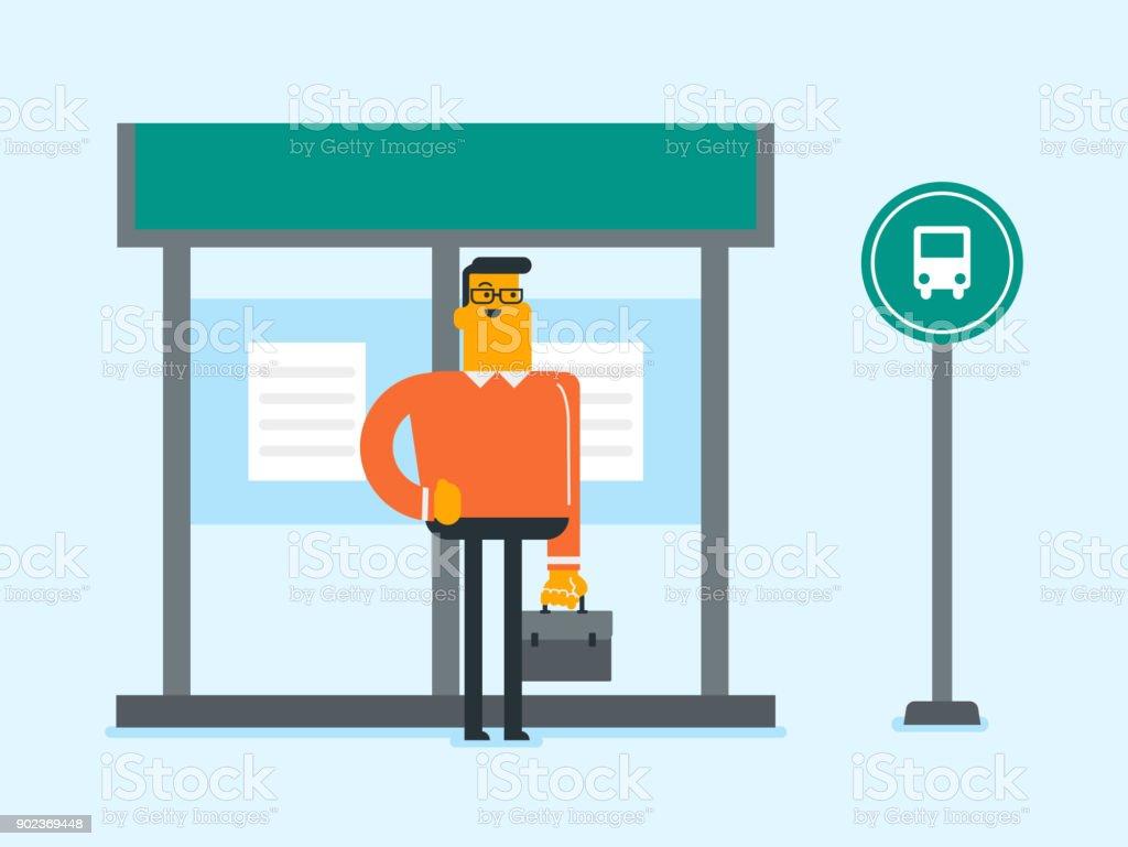 Homme caucasien attendait un bus à l'arrêt de bus - Illustration vectorielle