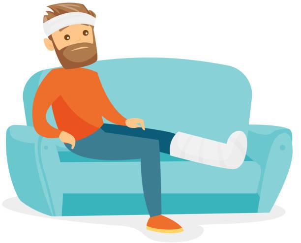 Caucasian man with broken leg sitting on the couch vector art illustration