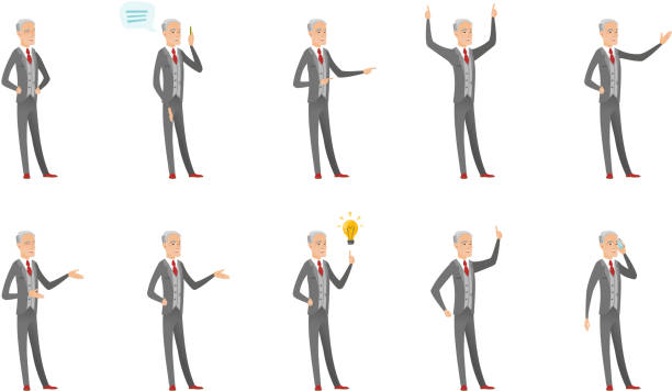 caucasian old businessman vector illustrations set - old man shirtless silhouette stock illustrations, clip art, cartoons, & icons