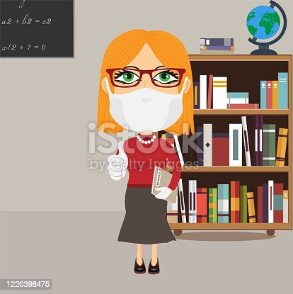 istock Caucasian Old school female professor with mask and white gloves thumbs up grey science book grey skirt red jumper glasses in library 1220398475