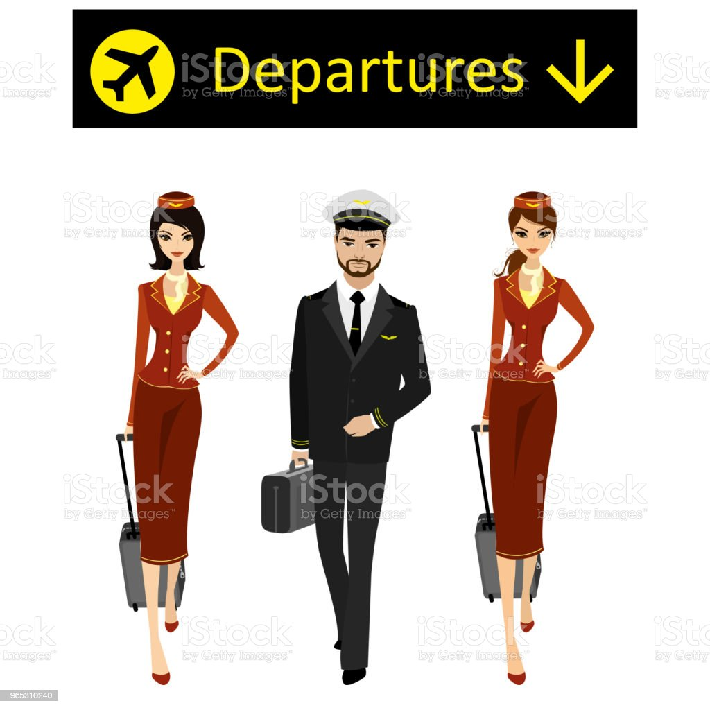 Caucasian or arab Pilot and two flight attendants in the uniform royalty-free caucasian or arab pilot and two flight attendants in the uniform stock vector art & more images of adult