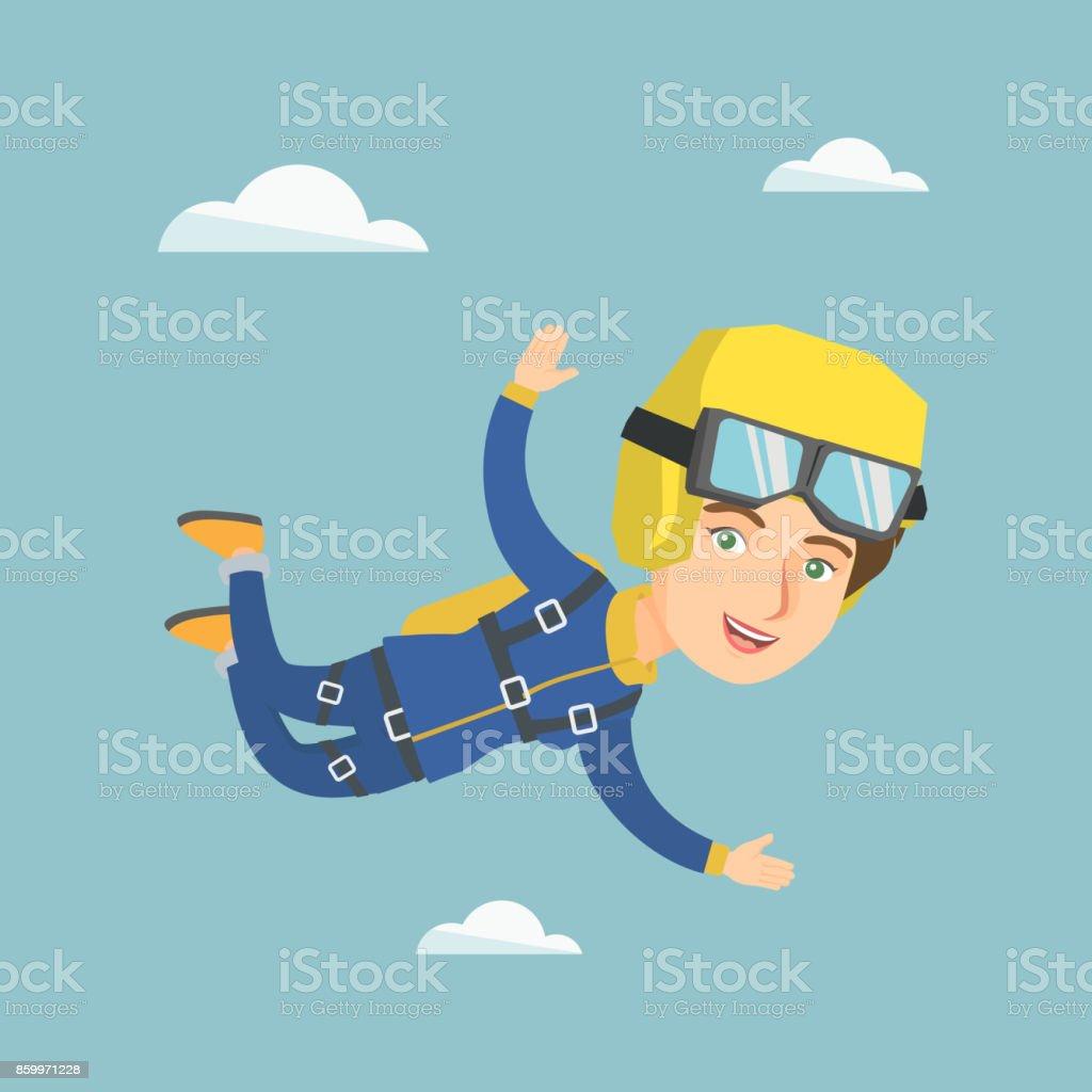 Caucasian parachutist jumping with a parachute vector art illustration