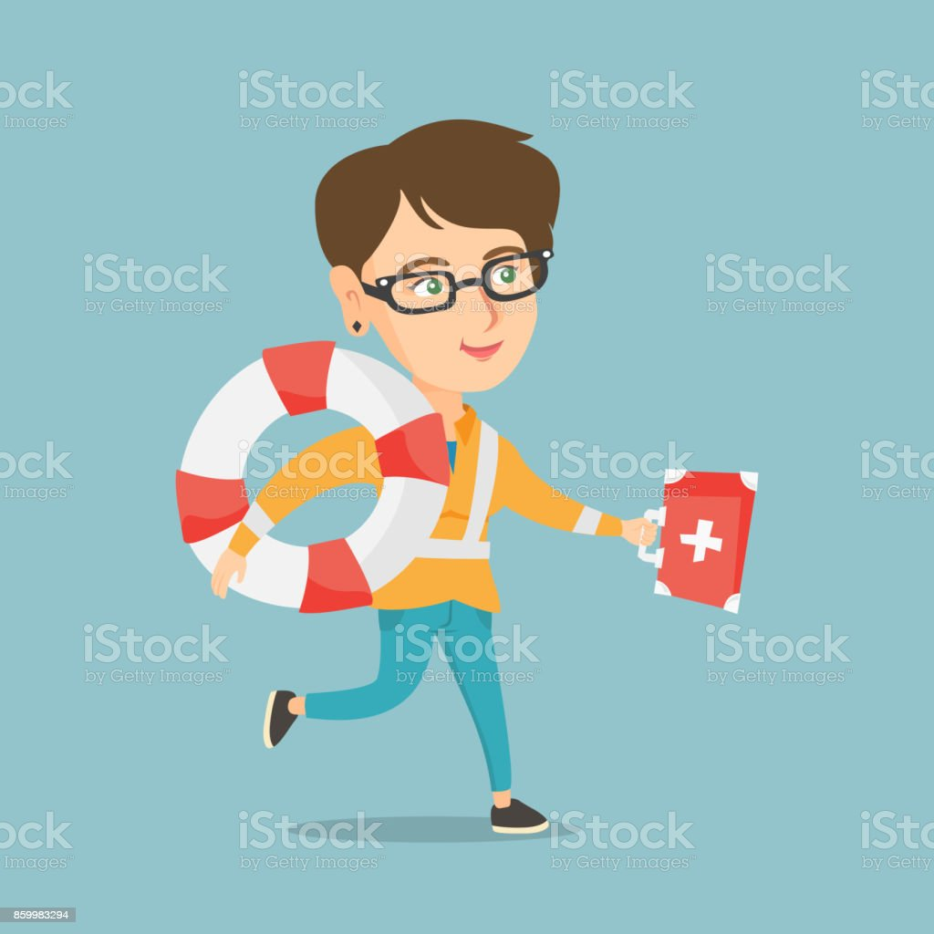 Caucasian paramedic running with a first aid box vector art illustration