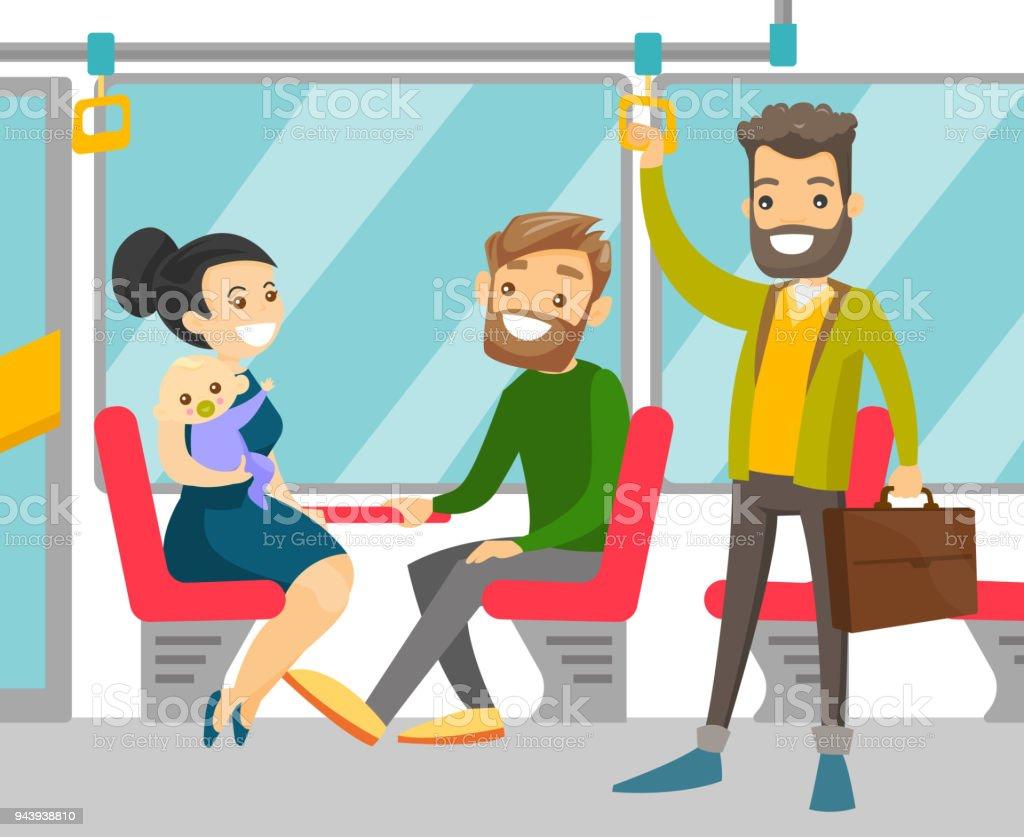 Caucasian people traveling by public transport vector art illustration