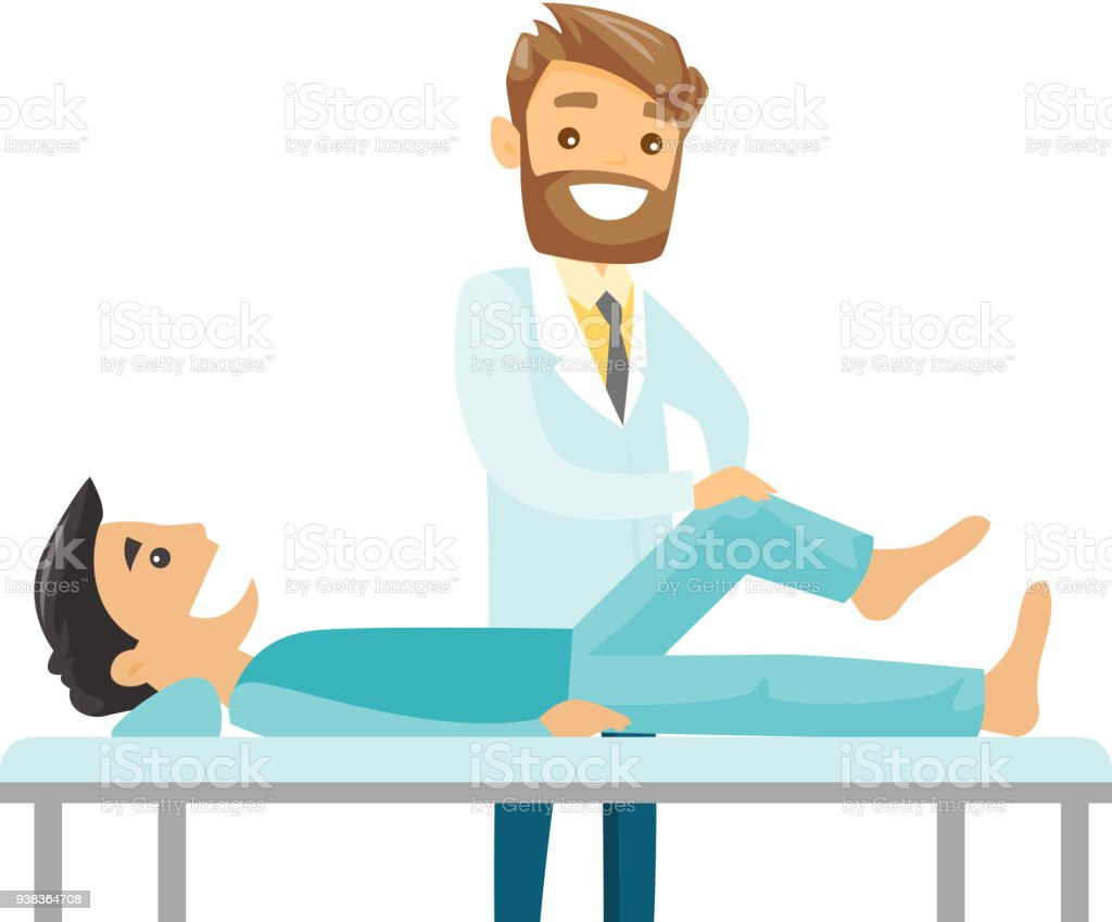 Caucasian physio checking the leg of a patient vector art illustration