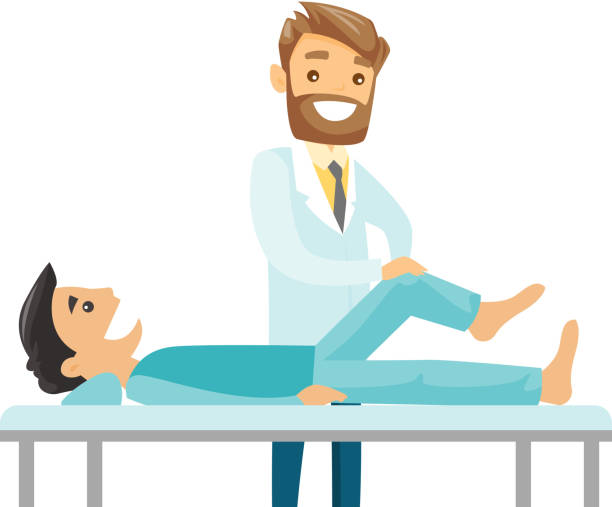 Caucasian physio checking the leg of a patient Caucasian white physiotherapist doctor checking the ankle of a patient. Physio giving a leg massage to a patient. Medicine and health care concept. Vector cartoon illustration. Horizontal layout. physical therapy stock illustrations