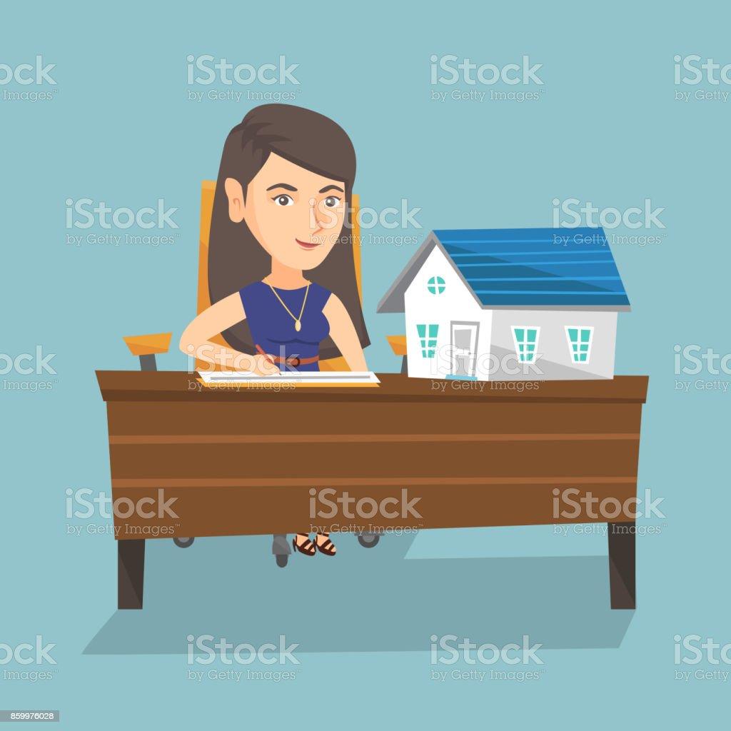 Caucasiano agente imobiliário assinando um contrato - ilustração de arte em vetor