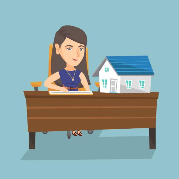 ilustraciones, imágenes clip art, dibujos animados e iconos de stock de caucásico agente de bienes raíces firma un contrato de - corredor de bolsa