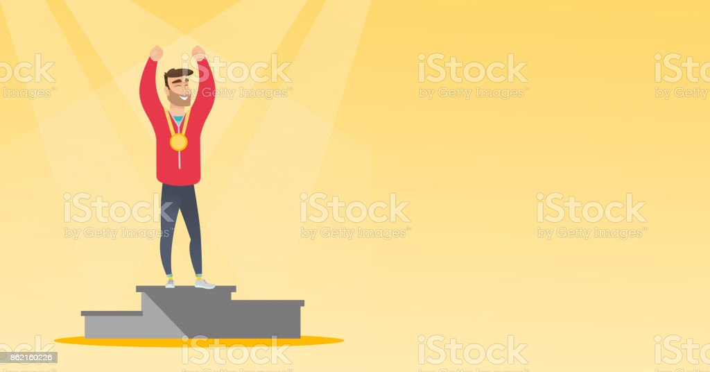 Caucasian sportsman celebrating on winners podium vector art illustration