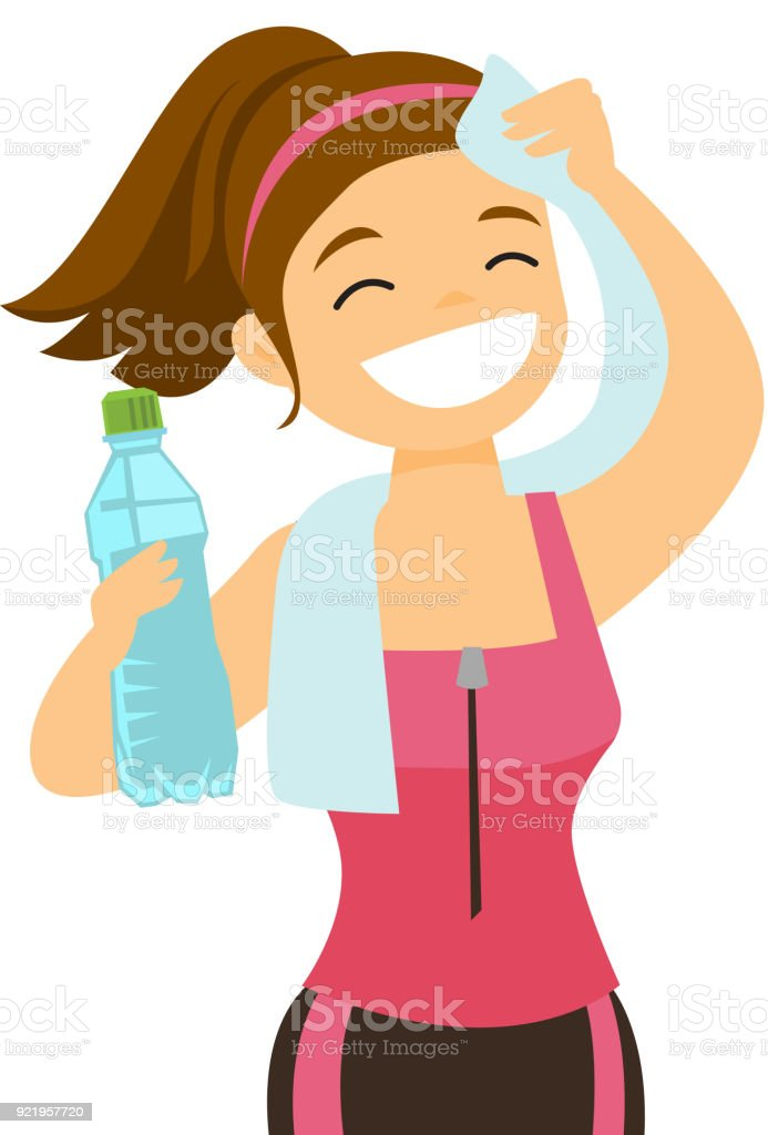Caucasian sportswoman wiping sweat with a towel vector art illustration