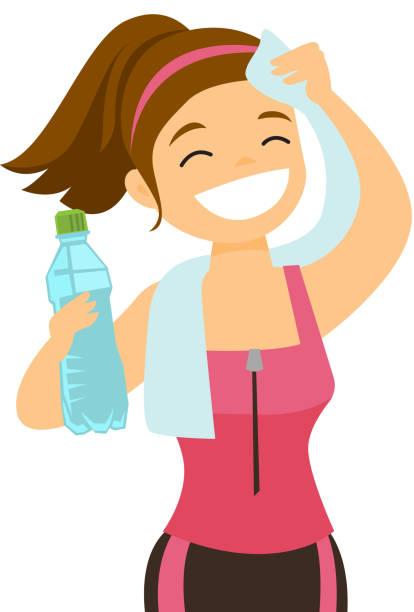 stockillustraties, clipart, cartoons en iconen met kaukasische sportvrouw afvegen zweet met een handdoek - woman water