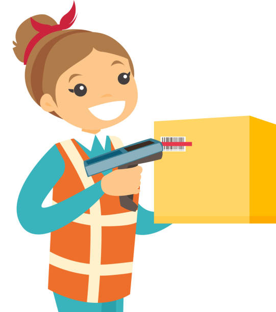 stockillustraties, clipart, cartoons en iconen met kaukasische magazijnmedewerker scanning barcode op vak - warehouse worker