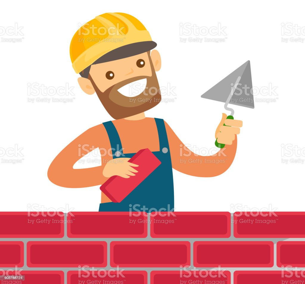 Caucasian White Bricklayer Building A Brick Wall Royalty Free