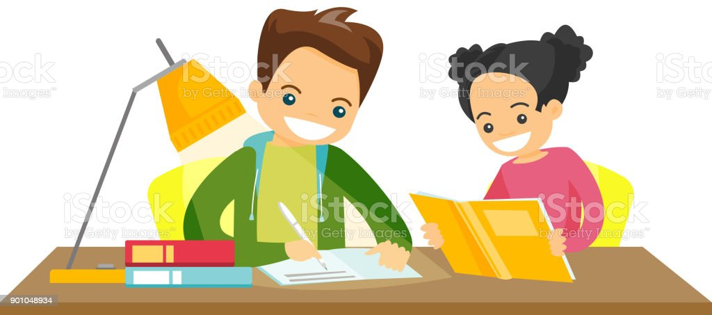 Caucasian white brother and sister doing homework vector art illustration
