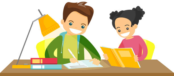 caucasian white brother and sister doing homework - brother stock illustrations, clip art, cartoons, & icons