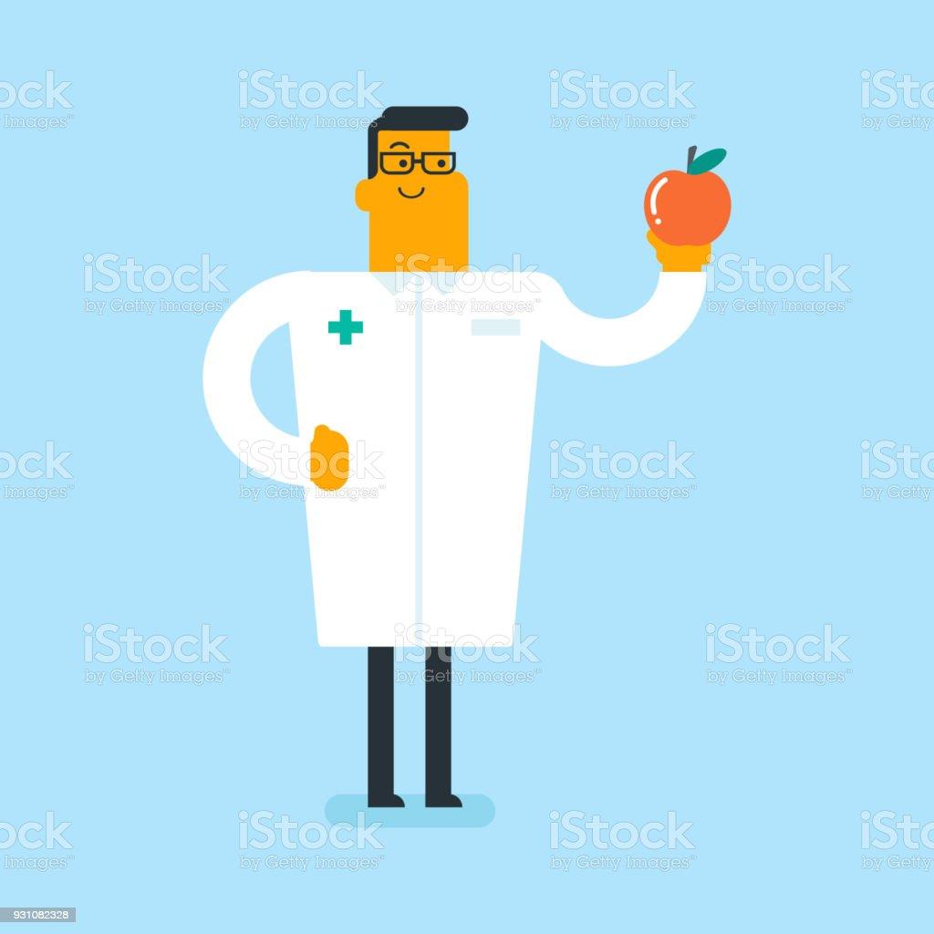Dietista blanco caucásico que ofrece apple sano - ilustración de arte vectorial