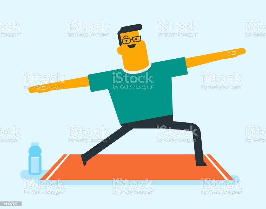 Kaukasische weiße Mann stretching alles tun – Vektorgrafik