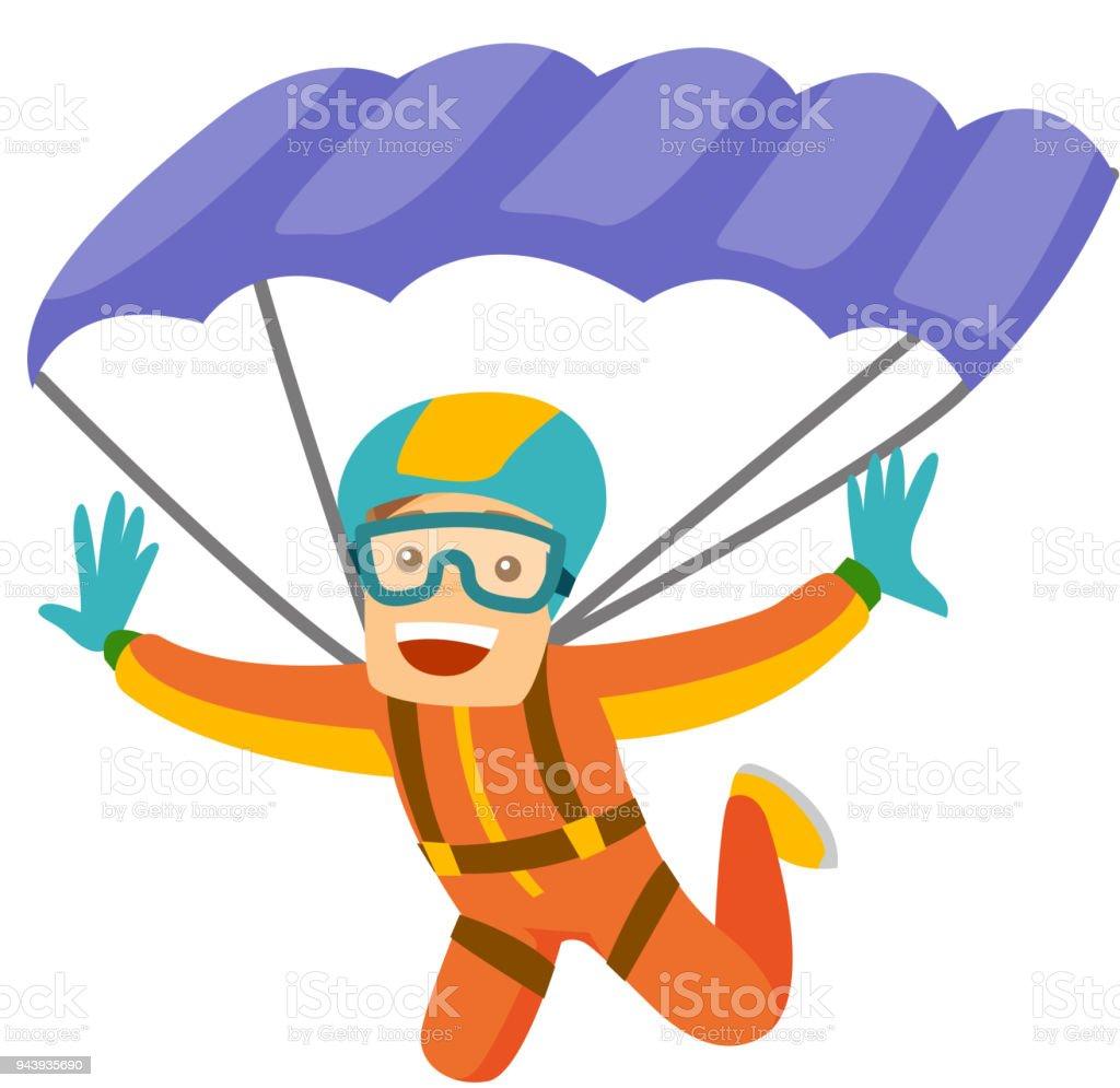 Ilustración de Hombre Blanco Caucásico De Volar Con Un Paracaídas y ...
