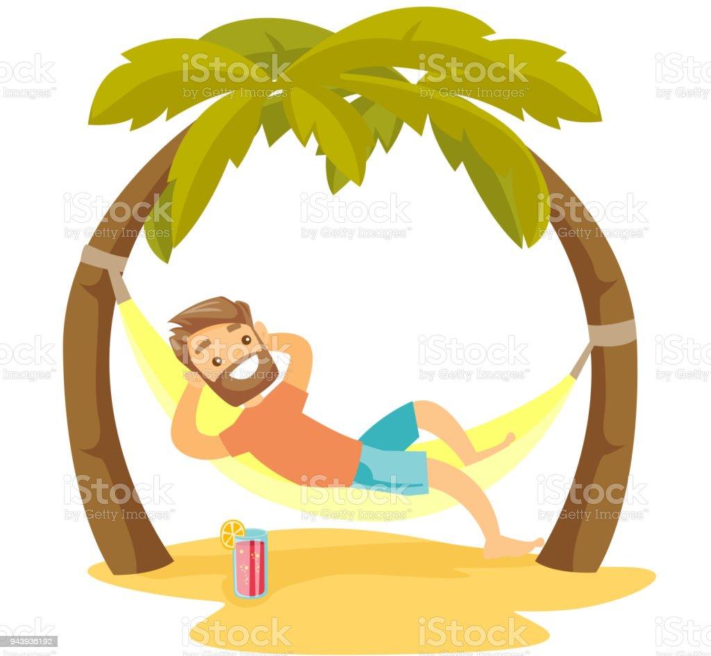 Caucasian white man lying in hammock on the beach vector art illustration
