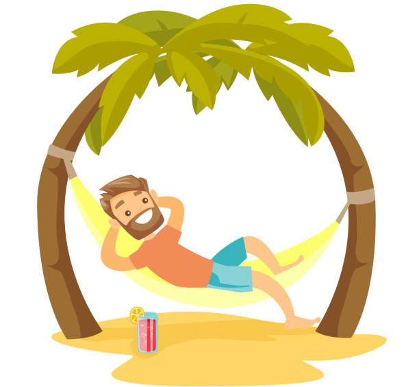 Caucasian white man lying in hammock on the beach Young happy caucasian white man relaxing on the beach in a hammock under the palm trees. Hipster man lying in hammock on tropical beach. Vector cartoon illustration isolated on white background. caucasian ethnicity stock illustrations