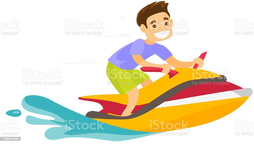 Caucasian White Man Riding A Jet Ski Scooter Stock Illustration Download Image Now Istock