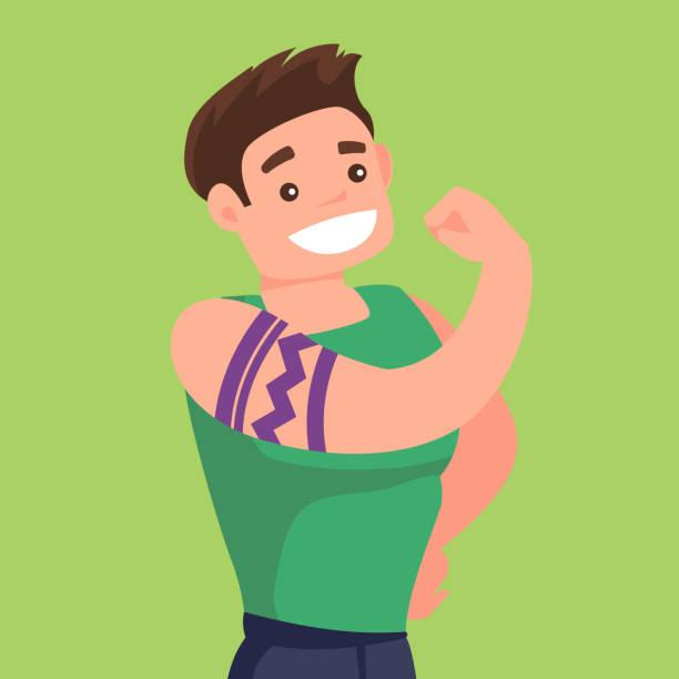 bildbanksillustrationer, clip art samt tecknat material och ikoner med kaukasiska vit man med en tatuering som visar biceps - gym skratt