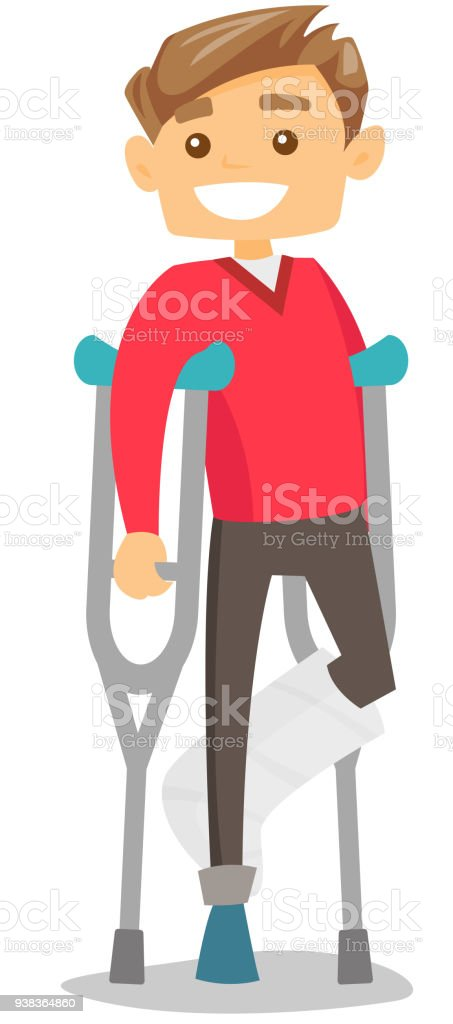 Caucasian white man with broken leg and crutches vector art illustration